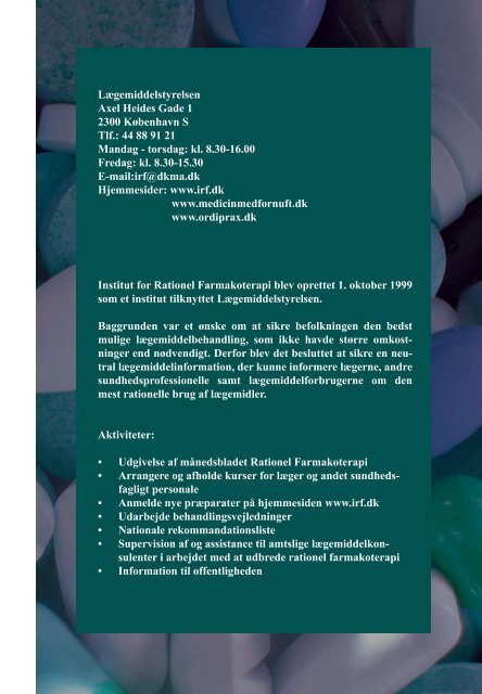 Farmakoepidemiologi i Danmarkr.indd - Institut for Rationel ...
