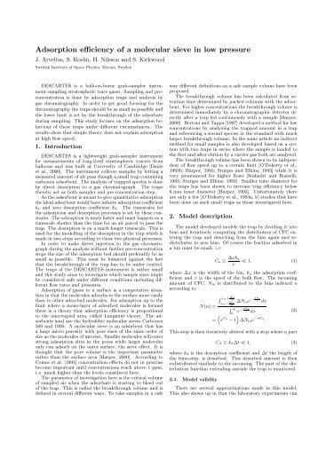 Adsorption efficiency of a molecular sieve in low pressure
