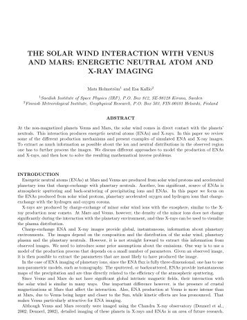 THE SOLAR WIND INTERACTION WITH VENUS AND MARS ...