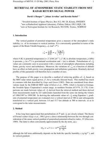 Proceedings of MST10, 13-20 May 2003, Piura