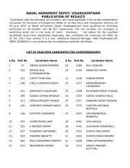 naval armament depot, visakhapatnam publication of results