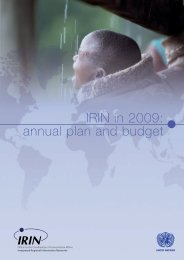 IRIN in 2009: annual plan and budget