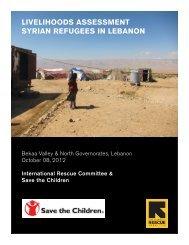 livelihoods assessment syrian refugees in lebanon - UNHCR ...