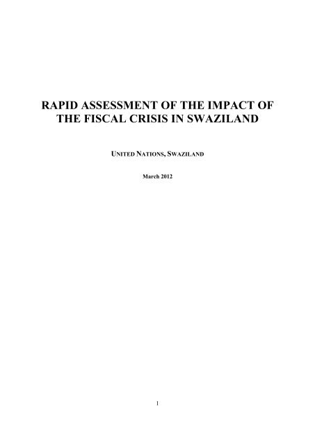 rapid assessment of the impact of the fiscal crisis in swaziland - IRIN