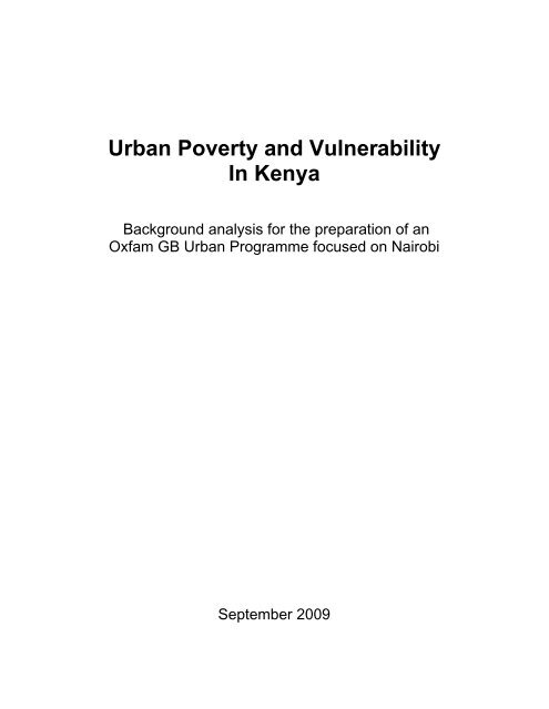 Urban Poverty and Vulnerability In Kenya - IRIN