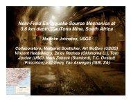 Near-Field Earthquake Source Mechanics at 3.6 km depth ... - IRIS