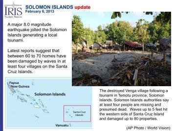 SOLOMON ISLANDS update February 6, 2013 - IRIS