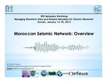 Moroccan Seismic Network: Overview - IRIS