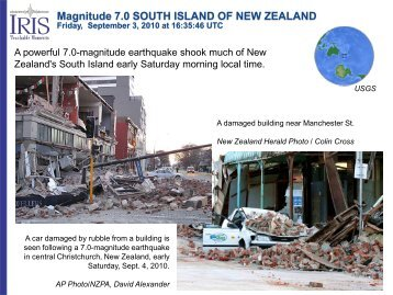 Magnitude 7.0 SOUTH ISLAND OF NEW ZEALAND - IRIS