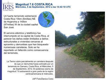 Magnitud 7.6 COSTA RICA - IRIS