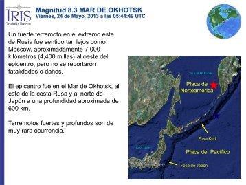 Magnitud 8.3 MAR DE OKHOTSK - IRIS