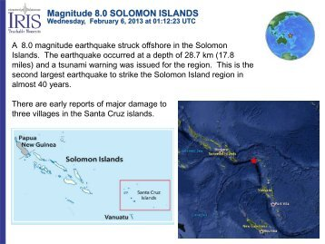 Magnitude 8.0 SOLOMON ISLANDS - IRIS