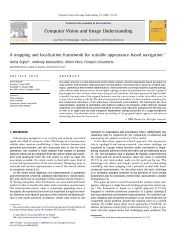 A mapping and localization framework for scalable ... - Irisa