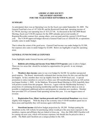 AIS Treasurer Report Fall 2009 - American Iris Society