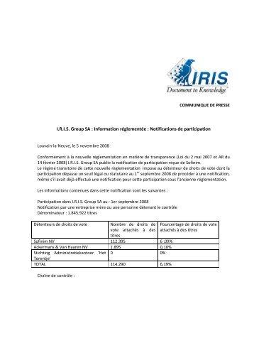 PR_Déclaration de participation-sofinim - IRIS