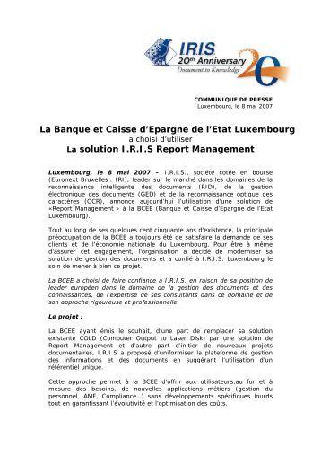 La Banque et Caisse d'Epargne de l'Etat Luxembourg La ... - IRIS