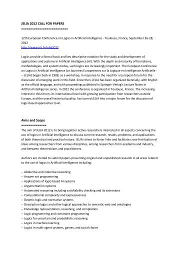 JELIA 2012 CALL FOR PAPERS ... - IRIT