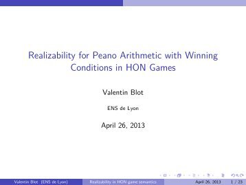 Blot. Realizability for Peano Arithmetic with Winning ... - IRIT