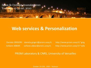 Web services & Personalization - IRIT