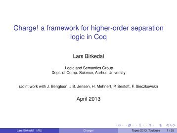 Charge! a framework for higher-order separation logic in Coq - IRIT