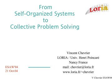 From Self-Organized Systems to Collective Problem Solving - IRIT