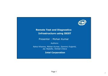 Remote Test and Diagnostics Infrastructure using IBIST. - IRIT