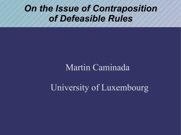 On the Issue of Contraposition of Defeasible Rules Martin ... - IRIT