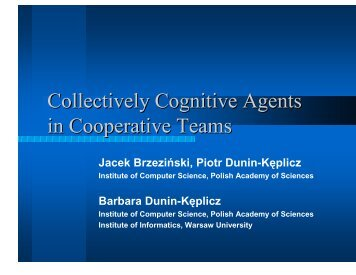 Collectively Cognitive Agents in Cooperative Teams - IRIT
