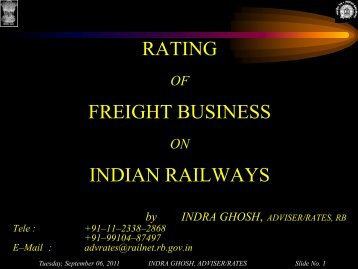 rating freight business indian railways - Indian Railways Institute of ...
