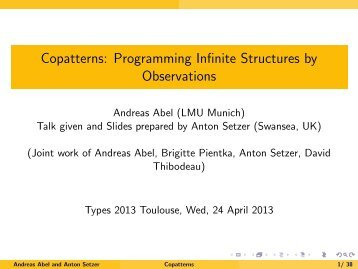 Copatterns: Programming Infinite Structures by Observations - IRIT