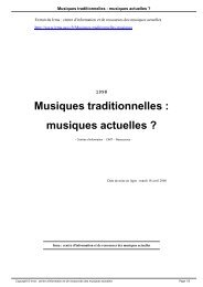Musiques traditionnelles : musiques actuelles ? - Irma