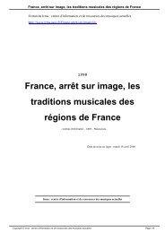 France, arrêt sur image, les traditions musicales des régions ... - Irma