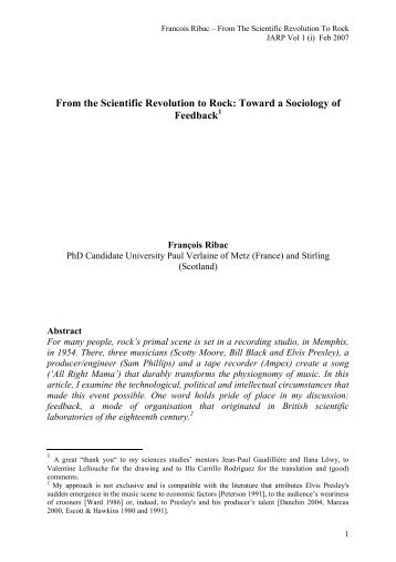 From the Scientific Revolution to Rock: Toward a Sociology of ... - Irma
