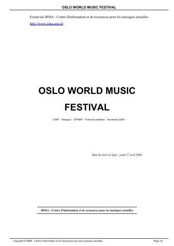 OSLO WORLD MUSIC FESTIVAL - Irma