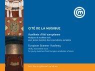 European Summer Academy Académie d'été européenne ... - Irma