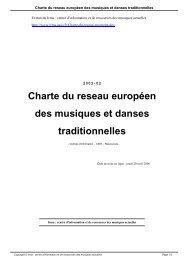 Charte du reseau européen des musiques et danses ... - Irma
