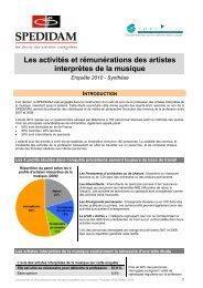 Les activités et rémunérations des artistes interprètes de la ... - Irma