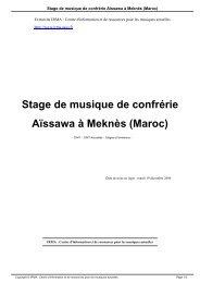 Stage de musique de confrérie Aïssawa à Meknès (Maroc) - Irma