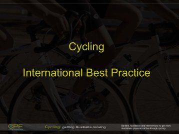 Perspectives on International Best Practice in Cycling Infrastructure