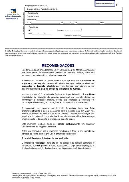 e5793fc952beb Registo Comercial - Impresso-requisição de certidão - Instituto dos .