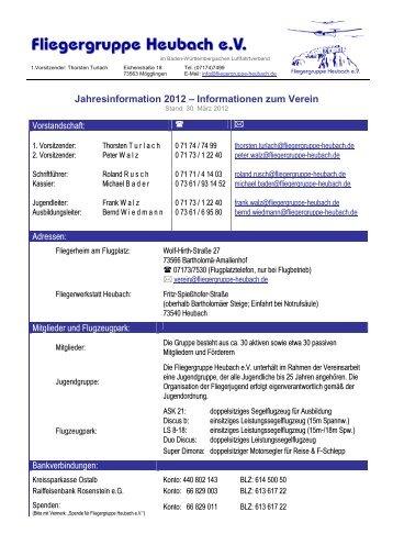 Jahresinformation 2012 - Fliegergruppe Heubach ev