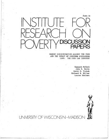 IV - Institute for Research on Poverty - University of Wisconsin ...