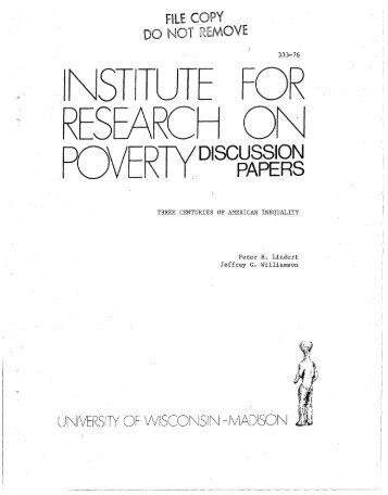 POVERlYD,scWf~J - Institute for Research on Poverty - University of ...