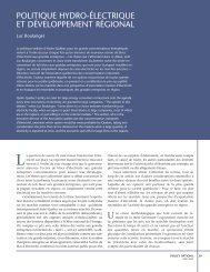 politique hydro-électrique et développement régional