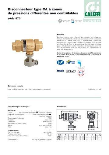 Disconnecteur type CA à zones de pressions différentes non - Caleffi