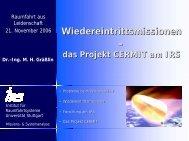 Wiedereintrittsmissionen – - IRS - Universität Stuttgart