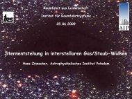 Sternentstehung in interstellaren Gas/Staub-Wolken - IRS