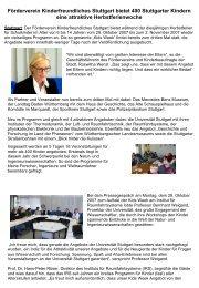 Förderverein Kinderfreundliches Stuttgart bietet 400 Stuttgarter ...