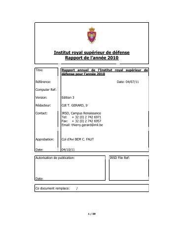 Institut royal supérieur de défense Rapport de l'année 2010 - KHID