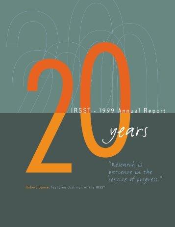 IRSST rapport annuel 99 part 1